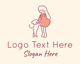 Pet Store - Girl Pet Dog logo design
