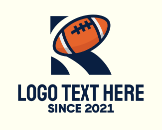 Rugby - American Football Letter R logo design