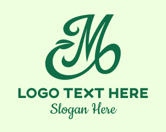 Calligraphic - Green Organic Letter M logo design