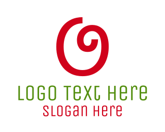 Red Cherry - Curly Letter O logo design