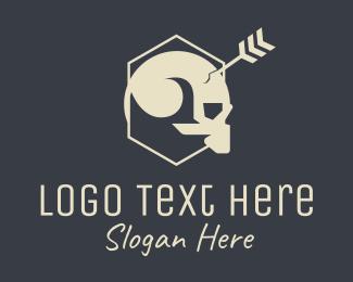 Goth - Arrow Pierced Skull logo design