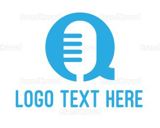 Commentator - Microphone Letter Q logo design