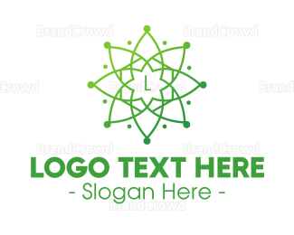 Buddhism - Green Mandala Star logo design