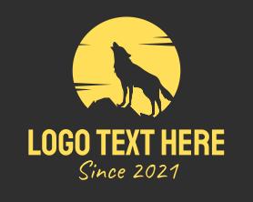 Jackal - Moon Wolf Howl logo design