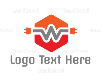 Plug - Orange W Wire Plug logo design