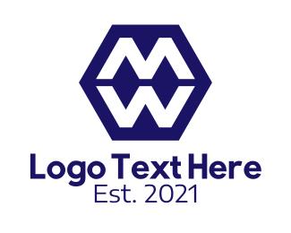 Typography - Violet Hexagon Lettermark logo design