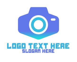 Vlogger - Modern Blue  Camera logo design