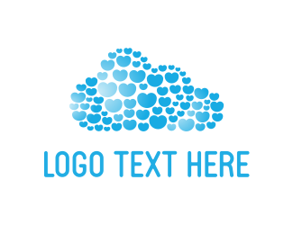 Cloud - Hearts Cloud logo design