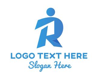 Medical - Blue Human Letter R logo design
