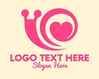 Mollusk - Pink Lovely Snail logo design