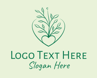 Cabbage - Nature Heart Plant  logo design