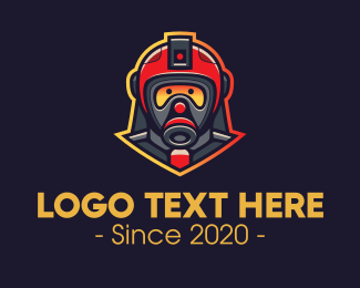 Gas Mask - Fire Rescue Team logo design