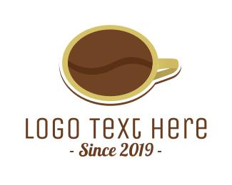 Pure - Coffee Bean Cup logo design