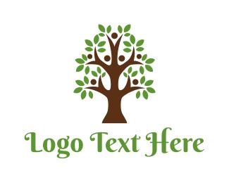 Family Planning - Cute Tree People logo design