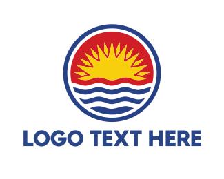 Villa - Kiribati Circle Flag logo design