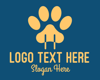 Animal Shelter - Yellow Animal Paw Power Plug logo design