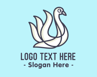 Heron - White Lake Swan logo design