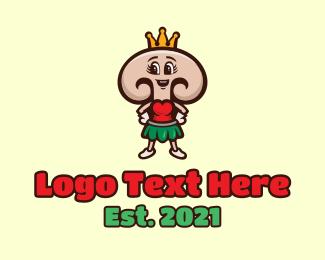 Fresh Produce - Lady Mushroom Queen  logo design