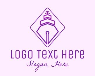 School - Purple Pen Ship logo design