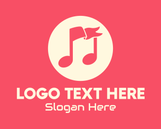Music - Musical Flag Symbol logo design