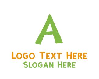 School - Preschool Green Letter A logo design