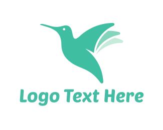 Hummingbird - Mint Hummingbird  logo design