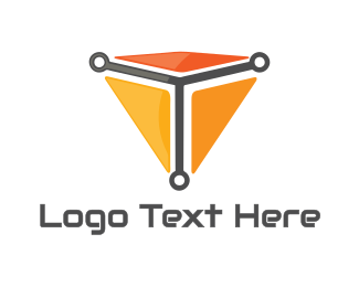 Web Developer - Triangle Cyber T logo design