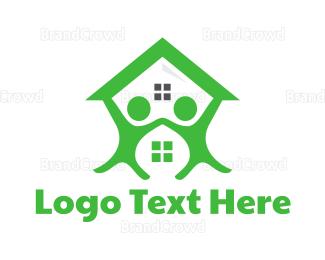 Neighborhood - Green Couple House logo design
