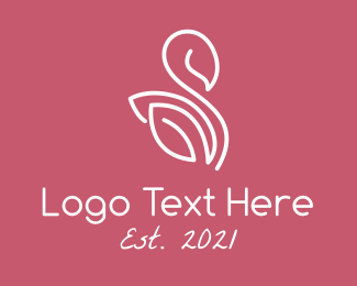 Beauty - Monoline Leaf Swan logo design