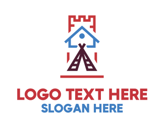Camping - House Teepee Castle logo design