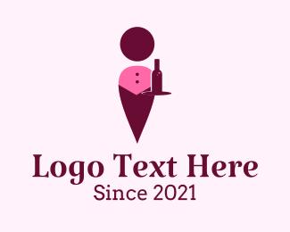 Waiter - Abstract Wine Waiter logo design