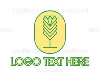 Alcohol - Diamond Chalice Outline logo design