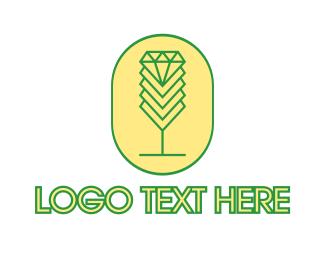 Oval - Diamond Chalice Outline logo design