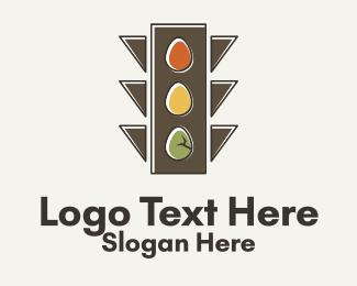 Road Sign - Egg Traffic Stoplight logo design