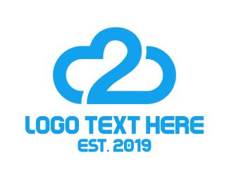 Number 2 - Blue Cloud Number 2 logo design