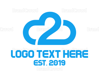 Cloud Drive - Blue Cloud Number 2 logo design
