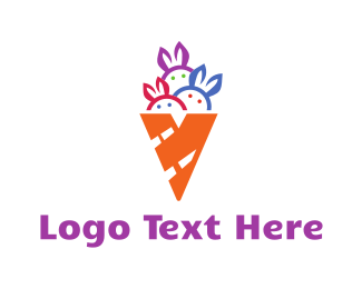 Cone - Ice Cream Rabbit logo design