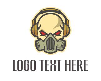 Disc Jockey - Skull Headphones logo design