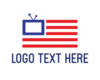 Tv - American Flag TV logo design