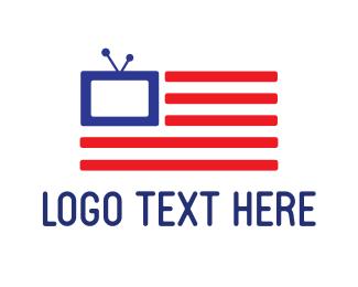 Tv - American Flag TV logo design