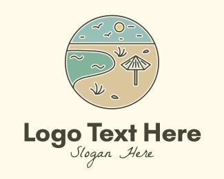 Swimming - Summer Beach Umbrella logo design