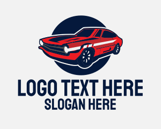 Sports Car Rental - Red Muscle Car logo design