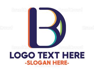 3d - Colorful B & D logo design