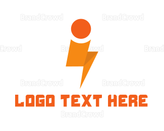 Eletrician - Orange Thunder I logo design