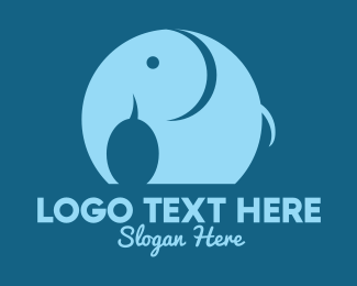 Elephant Sanctuary - Round Blue Elephant logo design