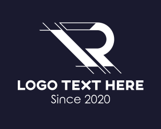 Blue Print - Architecture Drafting Letter R logo design