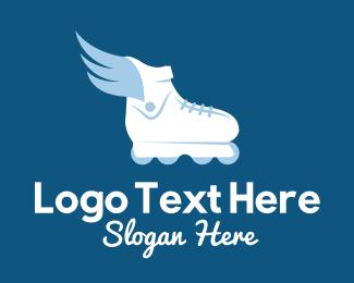 Skate - Flying Rollerblade Shoe logo design