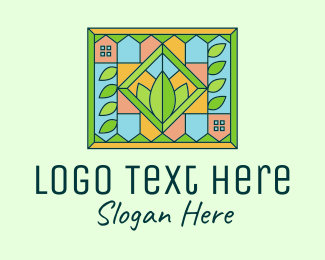 Crops Field - Stained Glass Organic Farm logo design