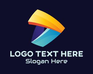 3d - 3D Media Player Letter D logo design