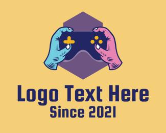 Fortnite - Colorful Gamer Hands  logo design